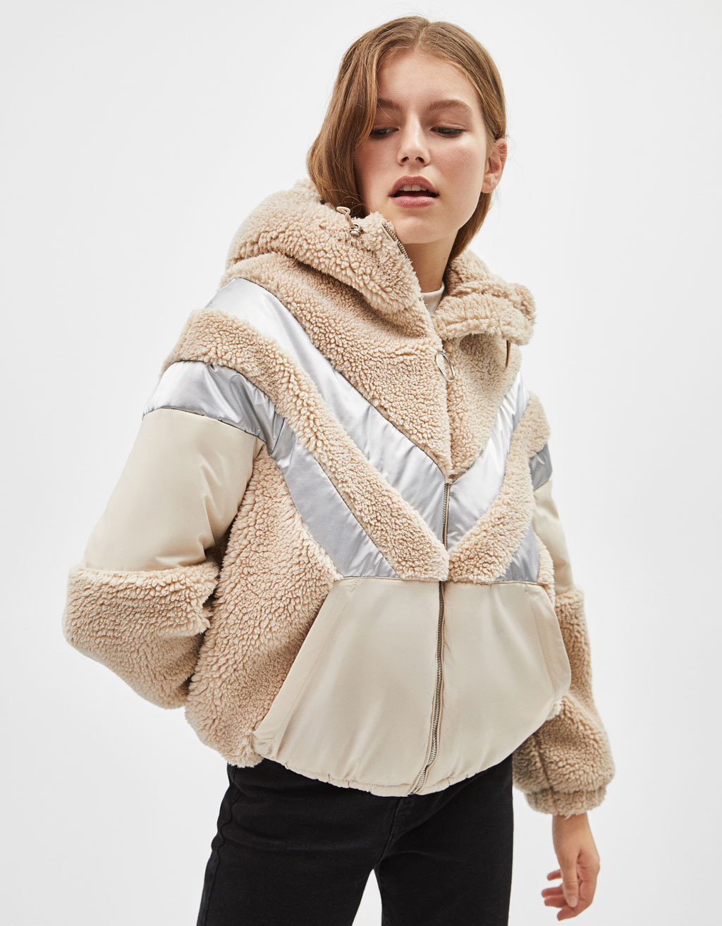 Faux shearling jacket with hood