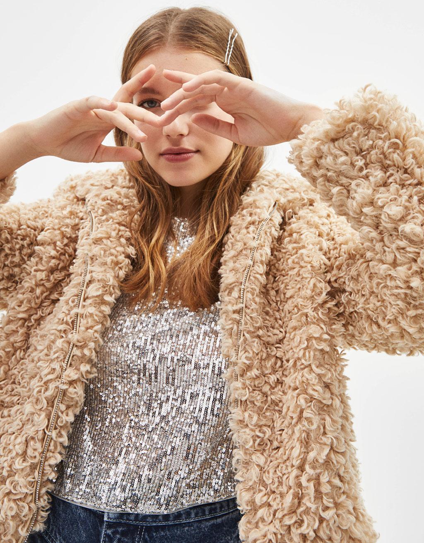 Curly Faux Fur Jacket by Bershka