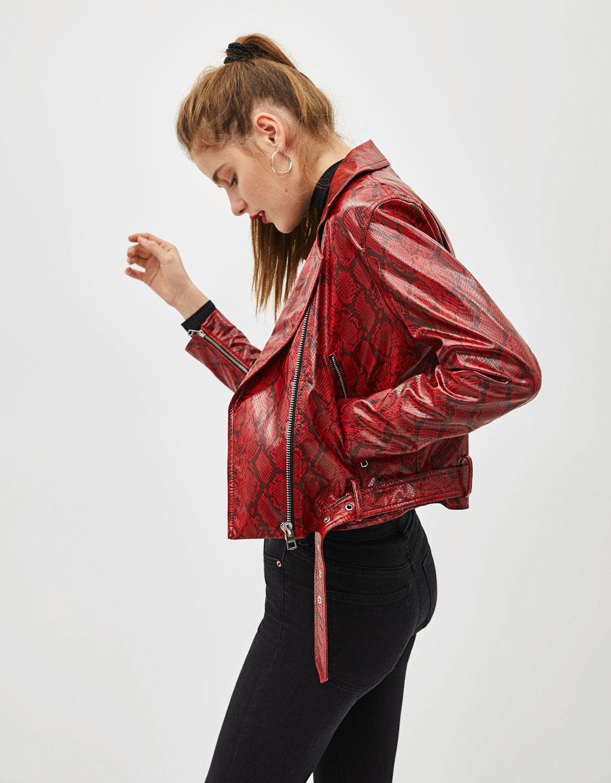 Motoristička jakna sa zmijskim uzorkom