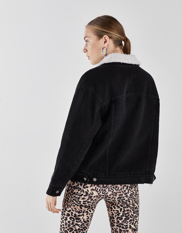 Jeansjacke mit Futter aus Lammfellimitat