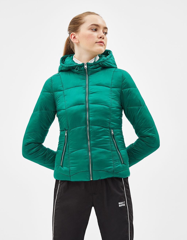 df6e6f9fb61 Light hooded puffer jacket - Coats - Bershka Jordan
