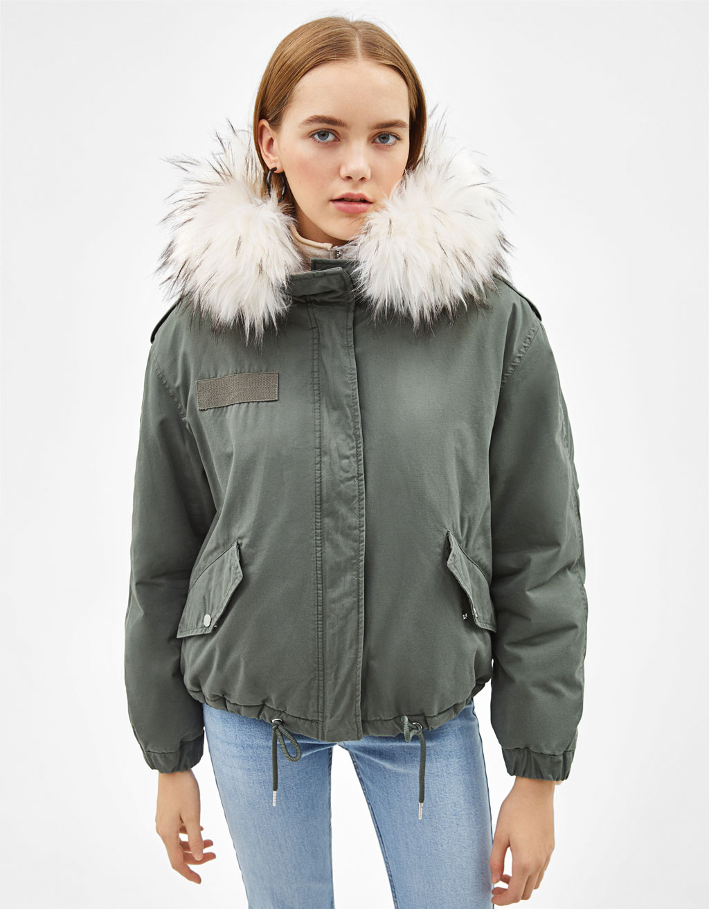 Short faux fur-lined jacket