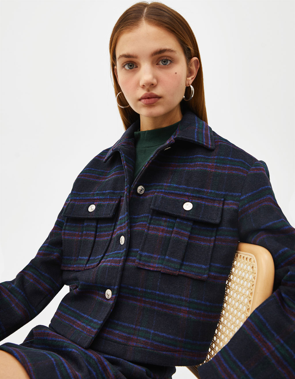 Cropped check trucker jacket
