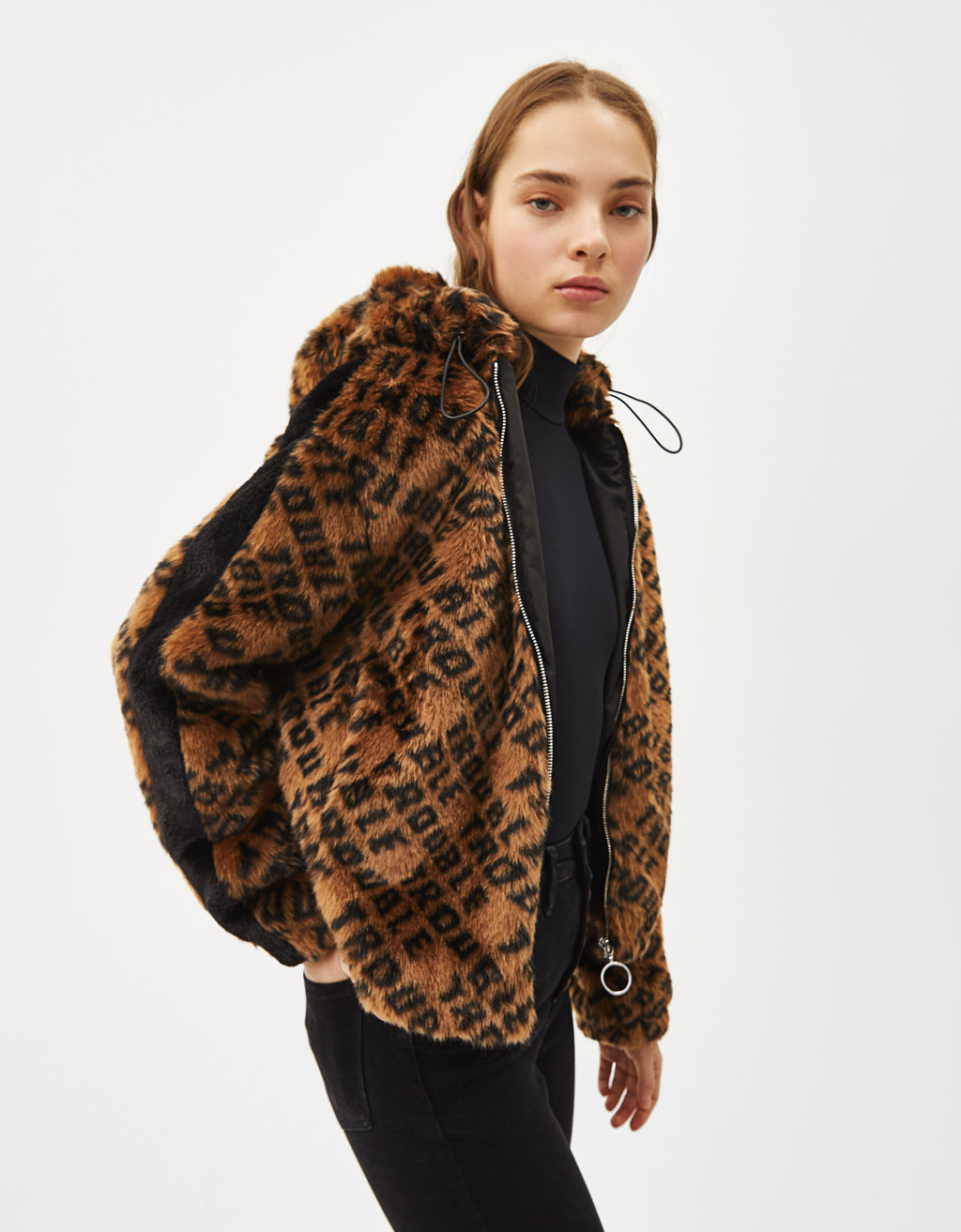Slogan-printed faux fur jacket