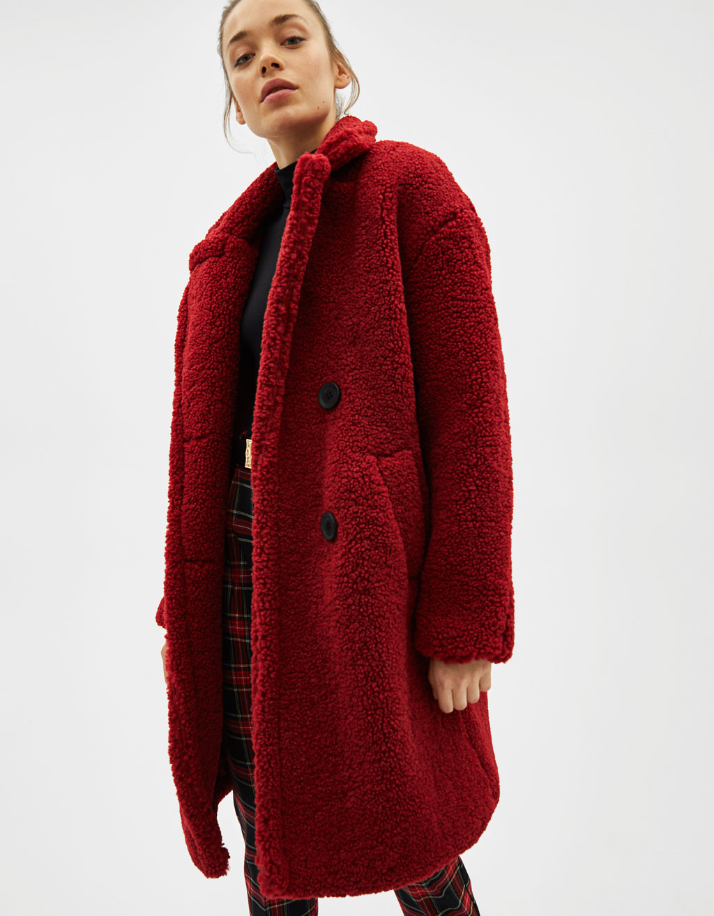 Long faux shearling double-breasted coat