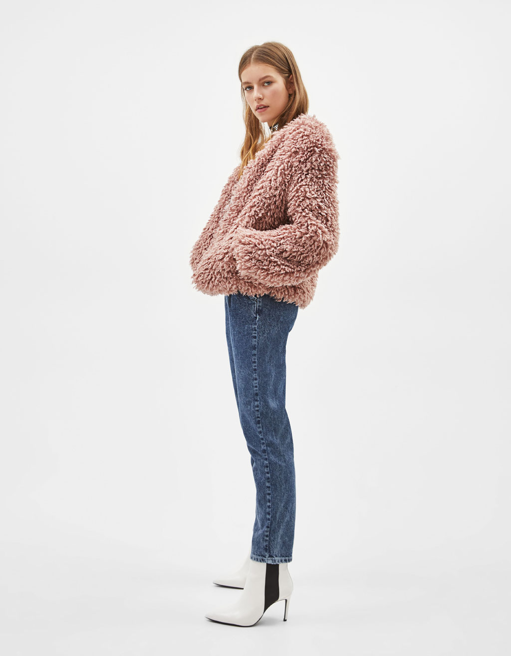 Cropped jacket with faux shearling
