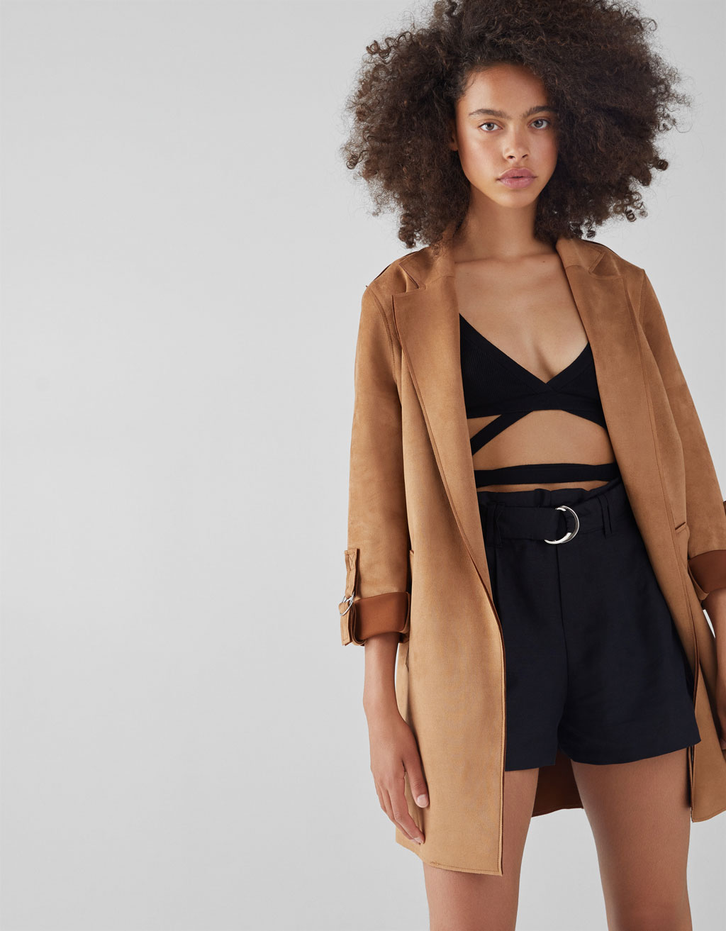 Faux Leather Coat by Bershka