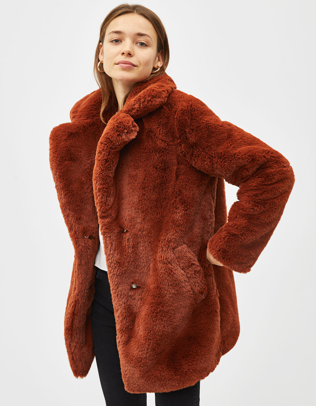 Long fuzzy coat with lapel collar