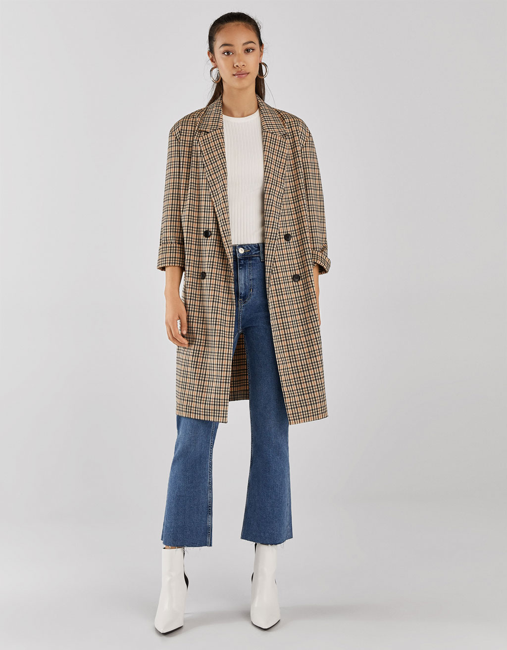 Checked loose-fitting trench coat