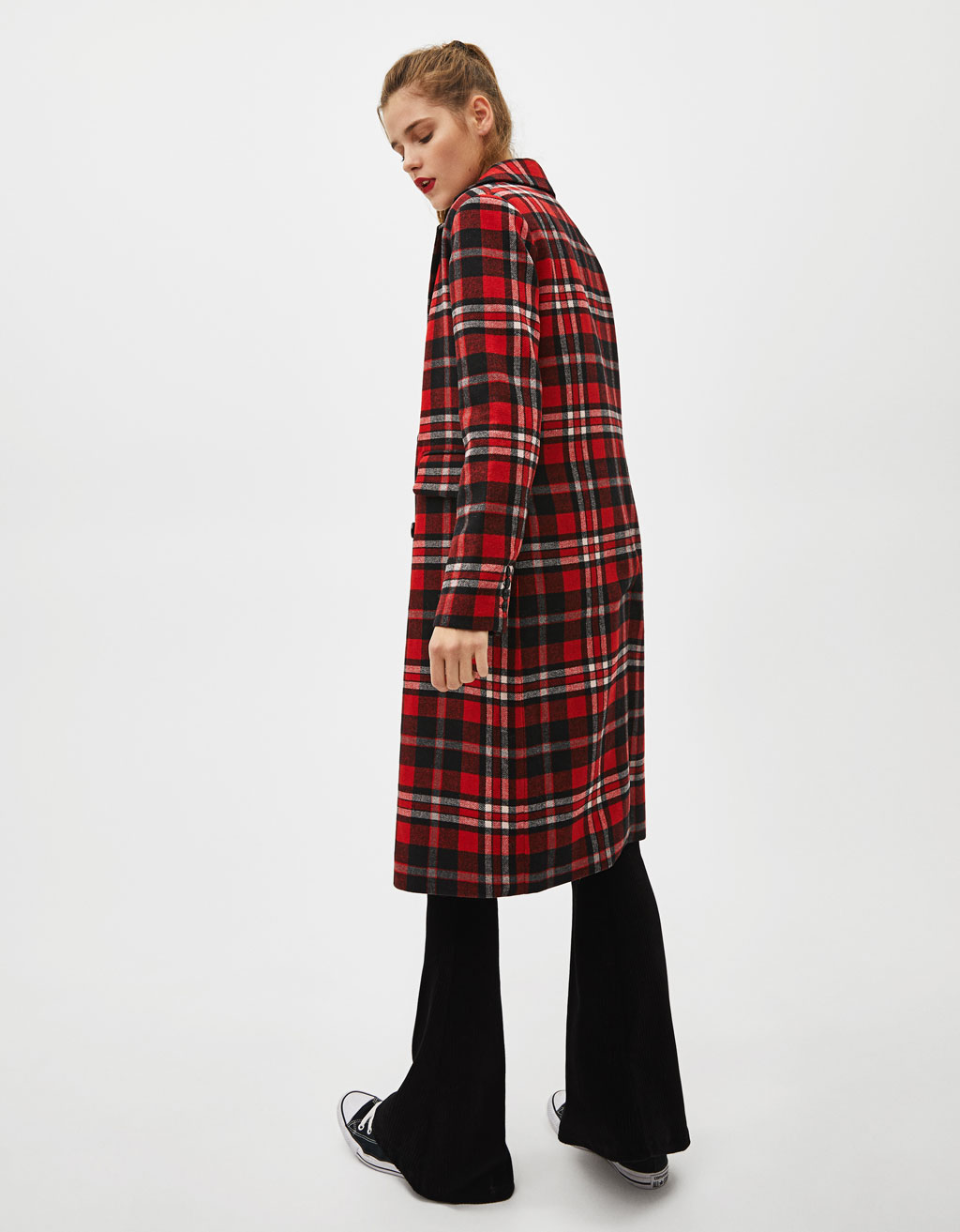 Long Checked Coat With Cross Over by Bershka