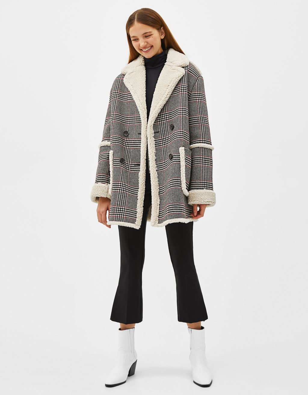 Jacquard print coat with faux shearling