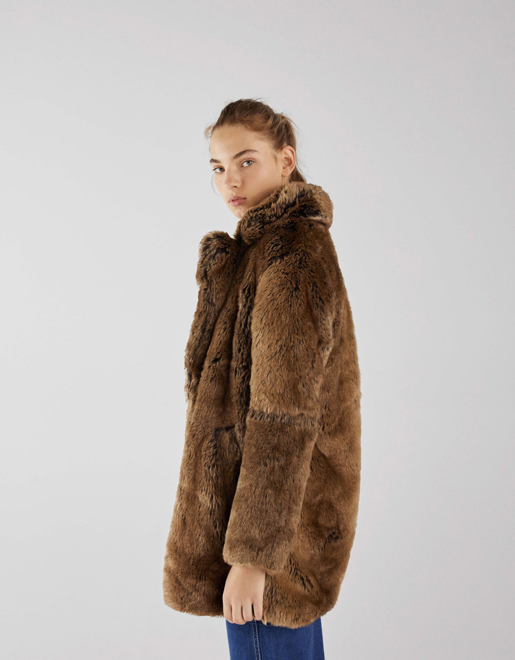 Long faux fur coat with lapel collar