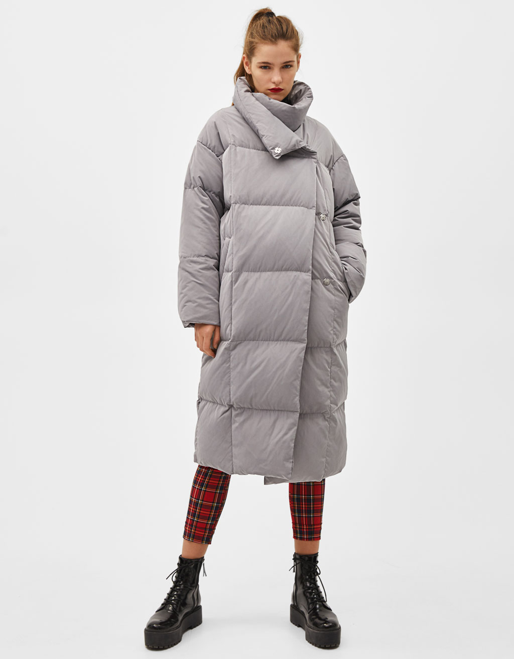 06acd143b Long puffer coat with feather filling