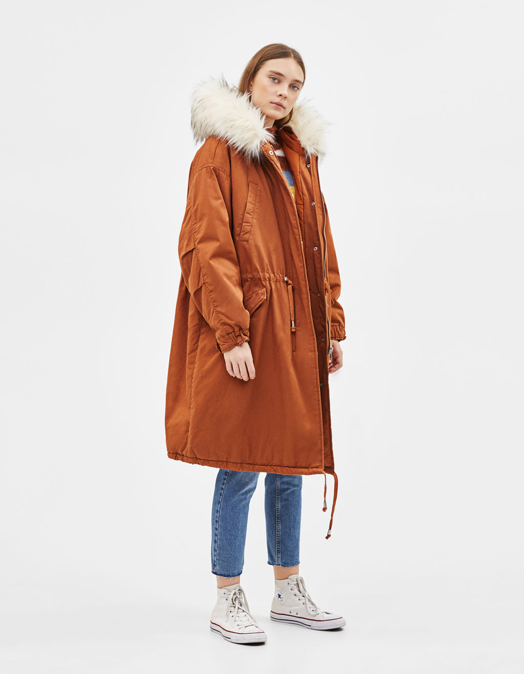 Parka coat with faux fur hood trim