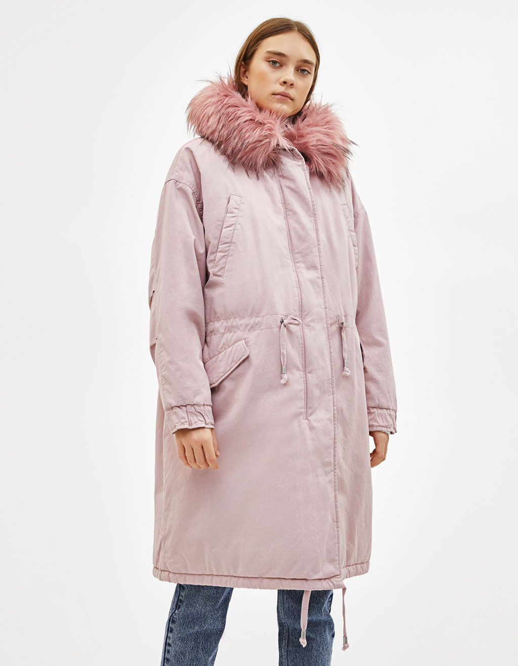 53b6b9d520d3 Parka coat with fuzzy hood trim - Asia Exclusive - Bershka Mainland China    中国大陆