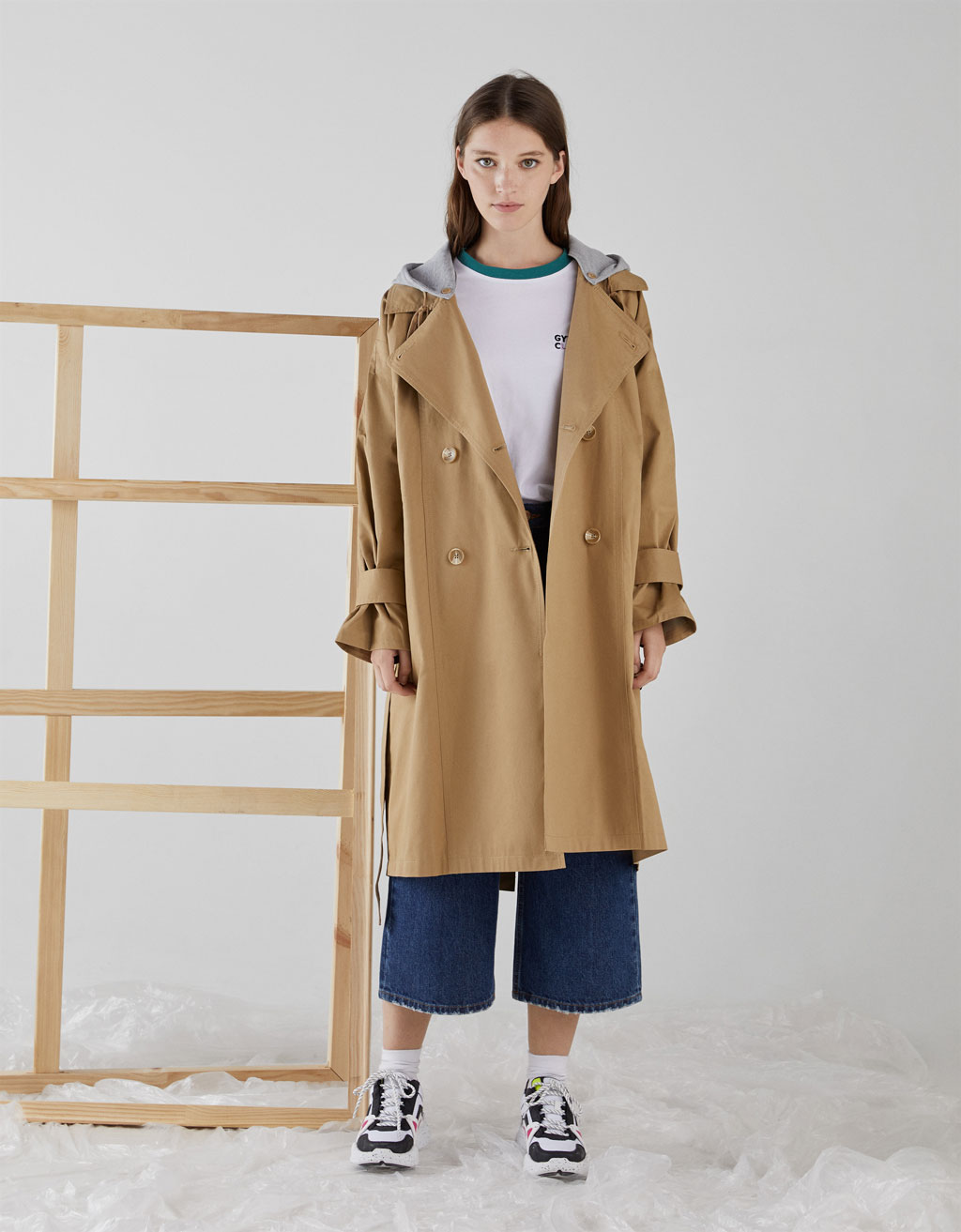 Trench coat with plush jersey hood