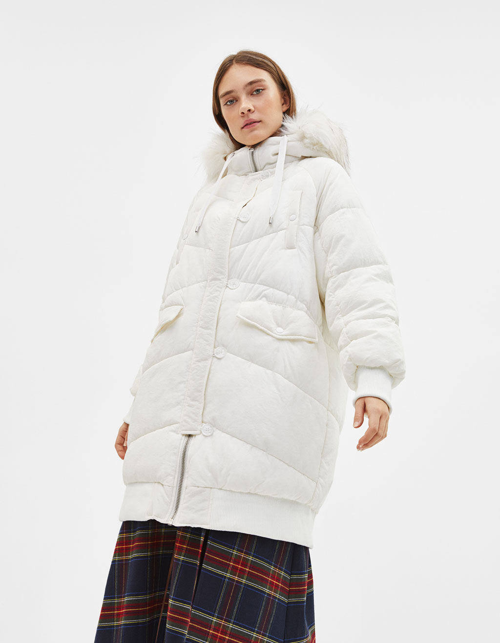 Long puffer coat with fuzzy hood trim