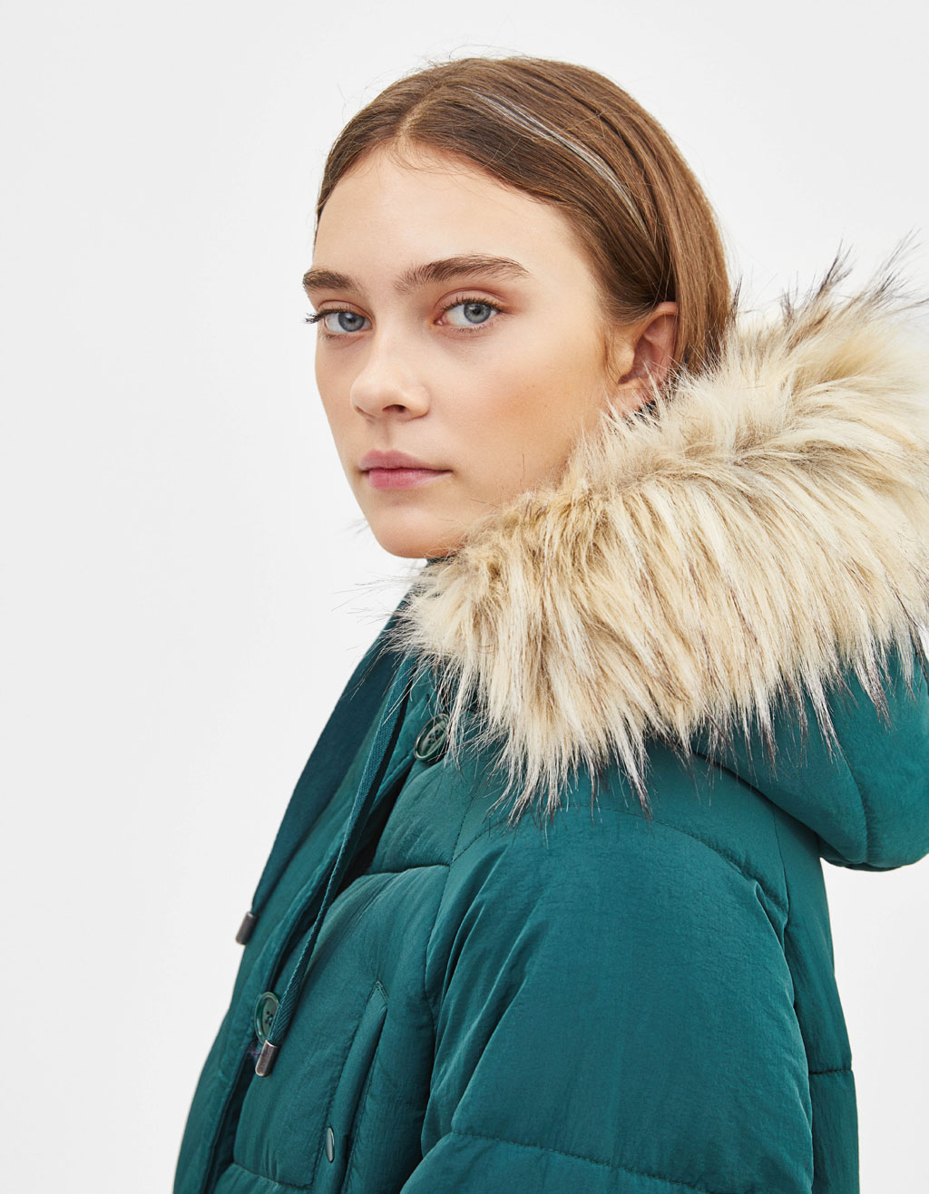 Long puffer coat with faux fur hood trim