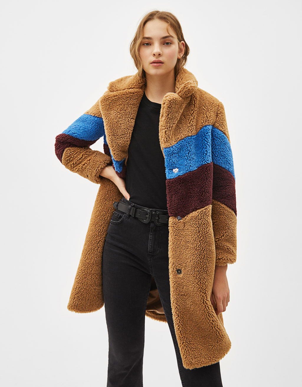 Color block faux shearling coat