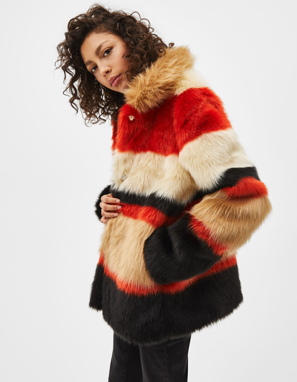 Colour block fuzzy coat