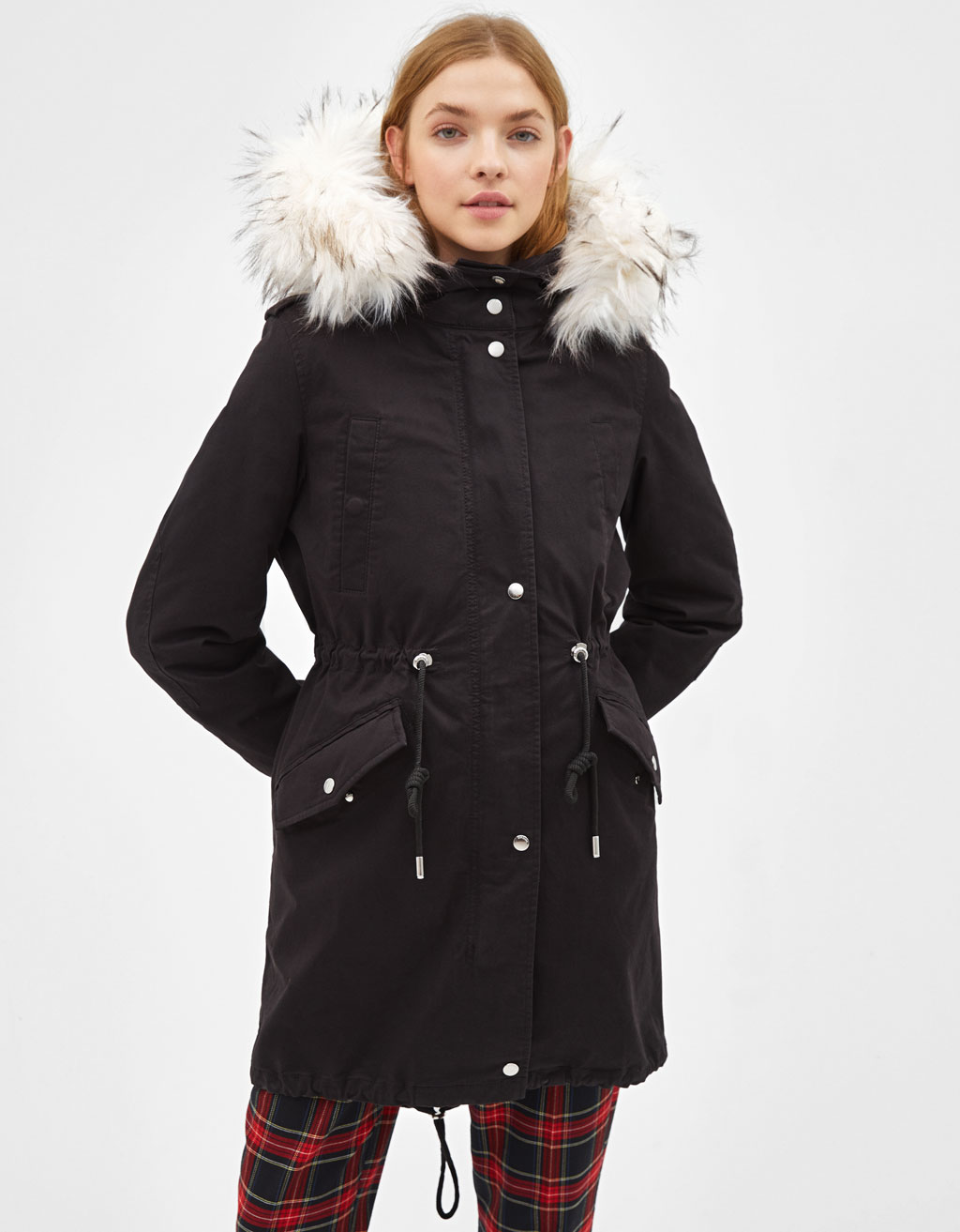 Parka-style coat with removable lining
