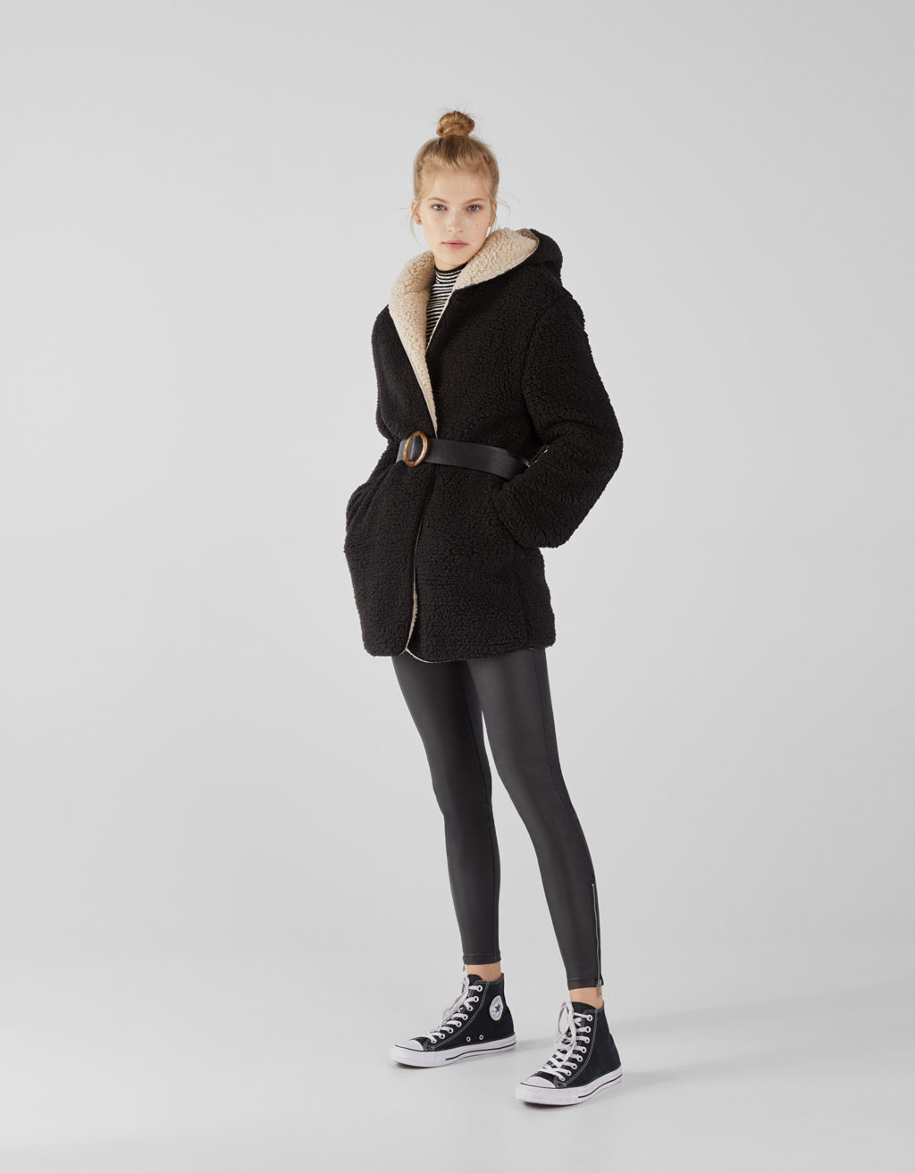Reversible faux shearling coat