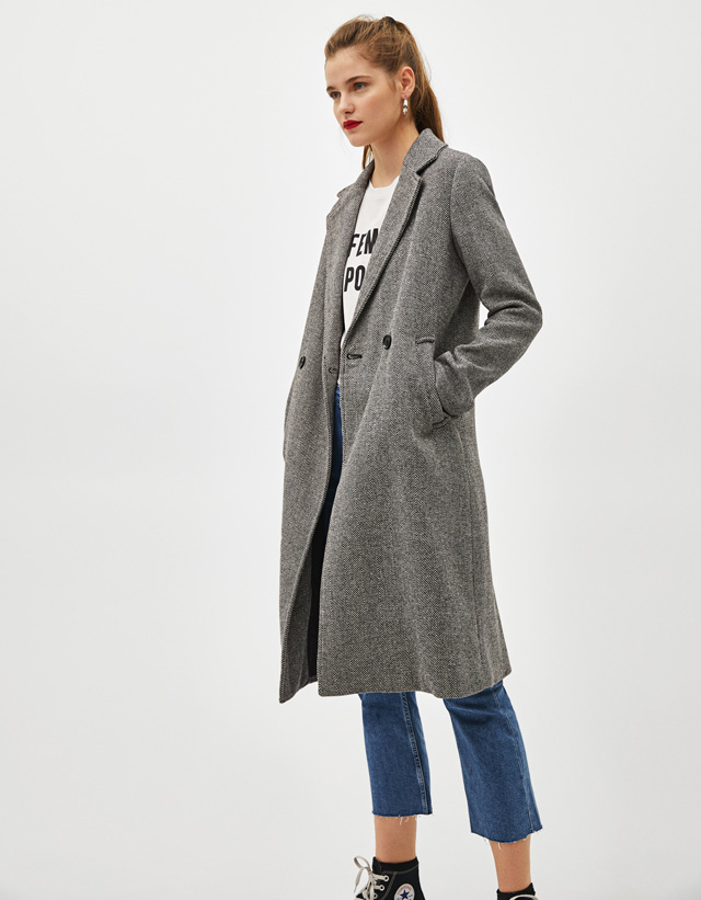 Langer Mantel mit geradem Schnitt