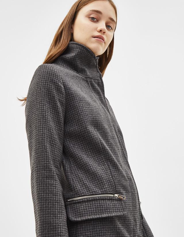 Mantel aus Lodentuch mit Reißverschlüssen