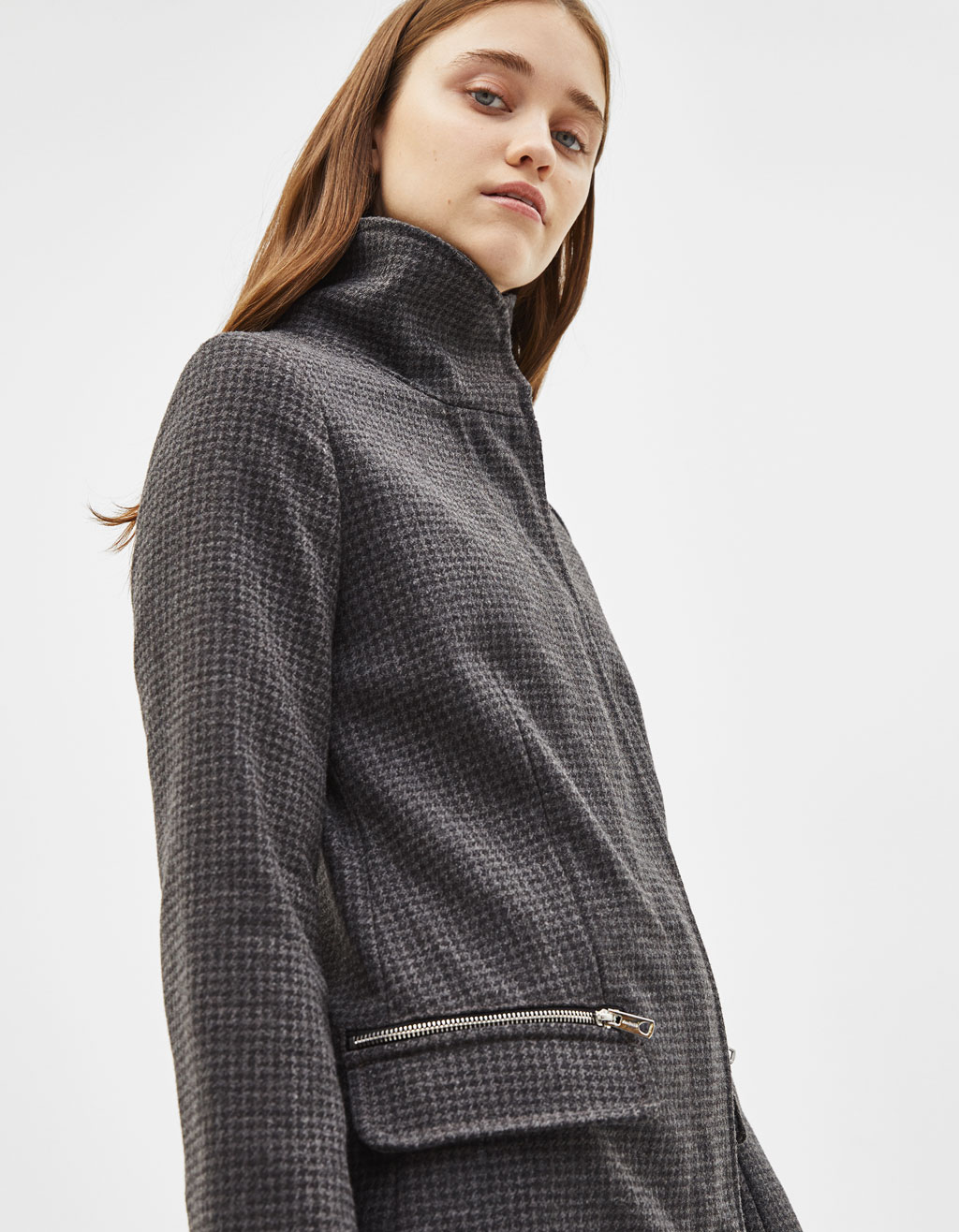 Woolly coat with zips
