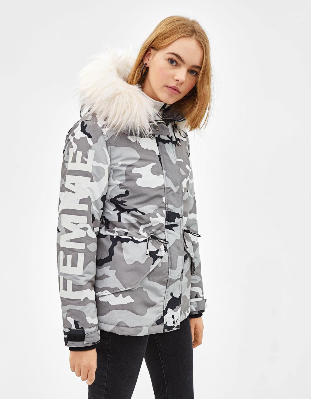 Hooded parka-style coat