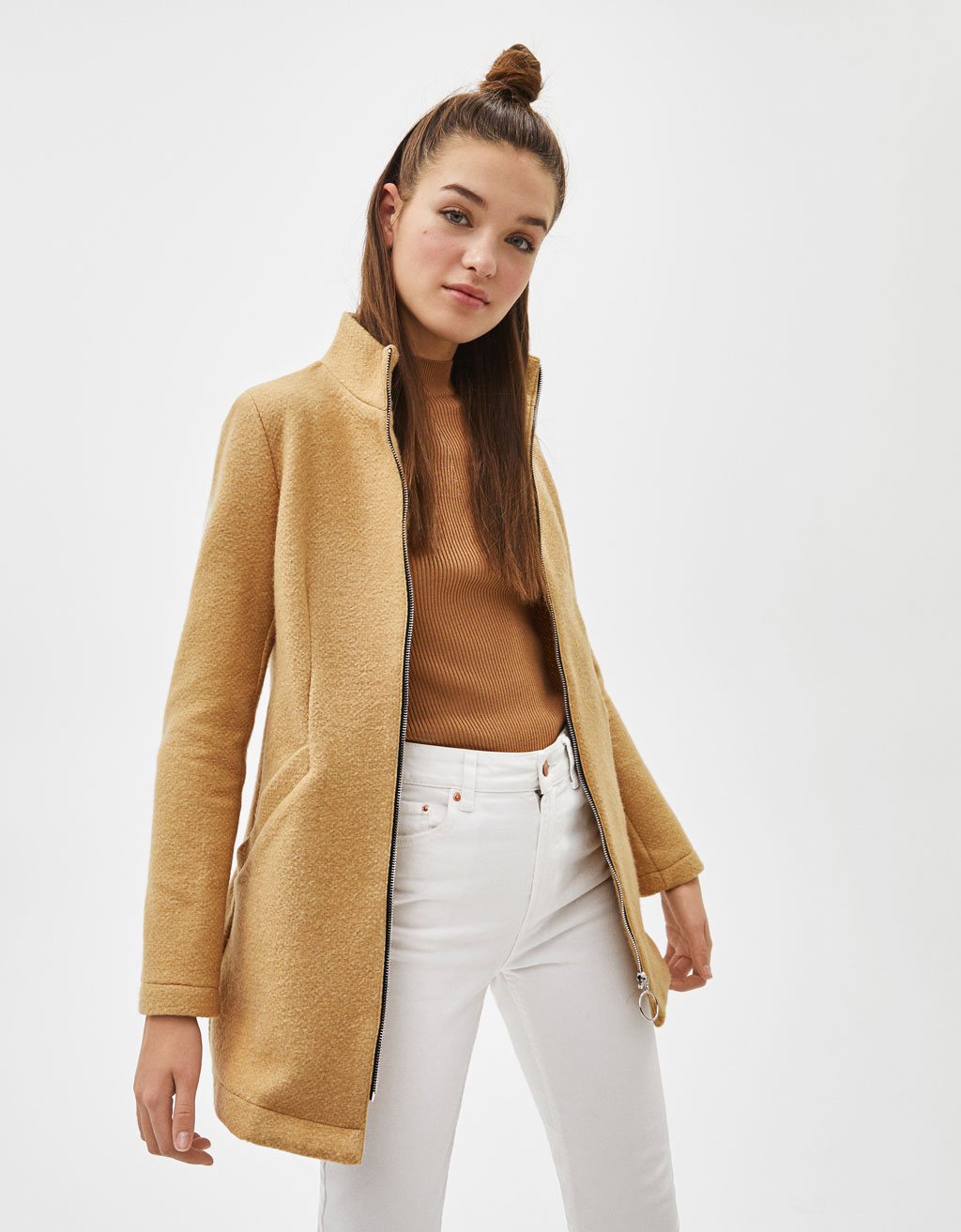 Zip-up woolly coat