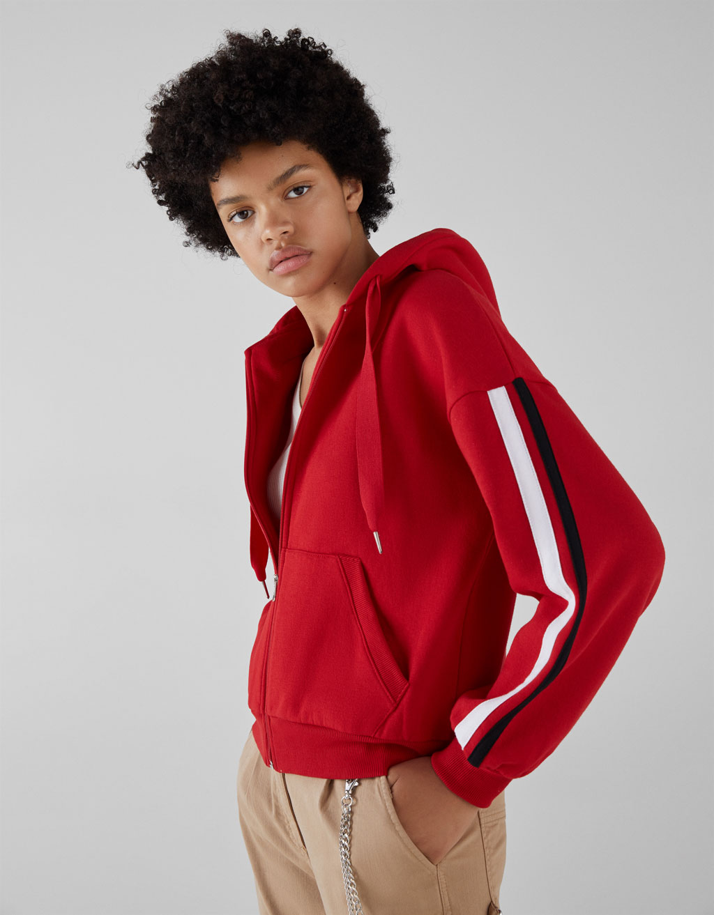Plush jersey zip-up sweatshirt