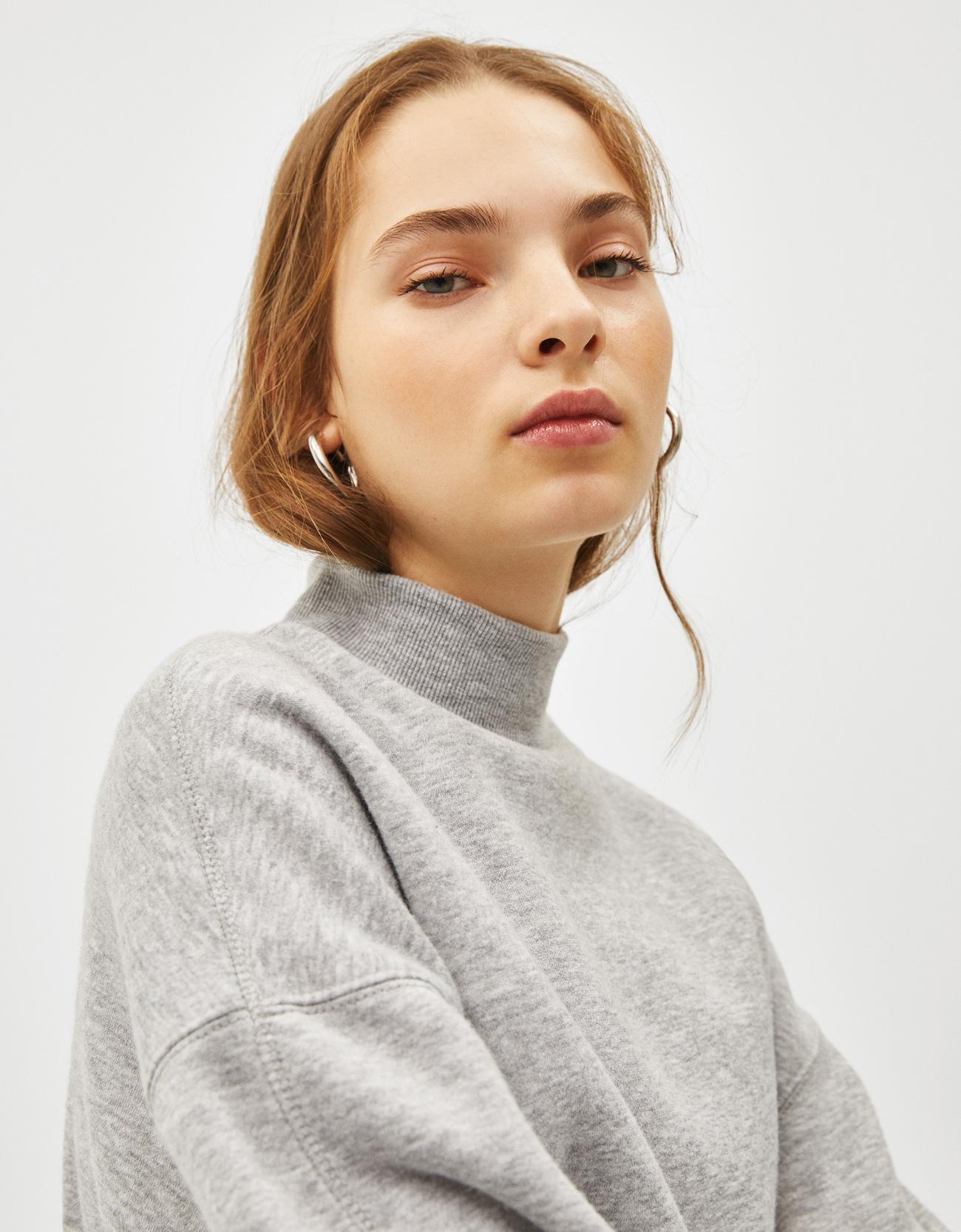 Sweatshirt mit geripptem Stehkragen