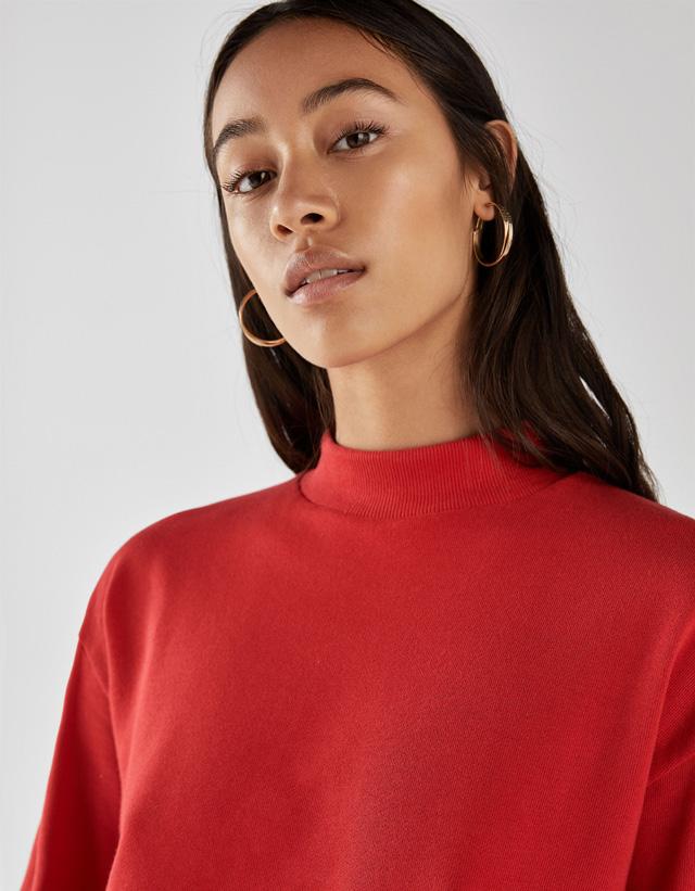 Cropped-Sweatshirt mit geripptem Stehkragen Join Life