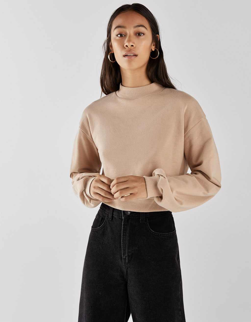 Cropped high neck sweatshirt