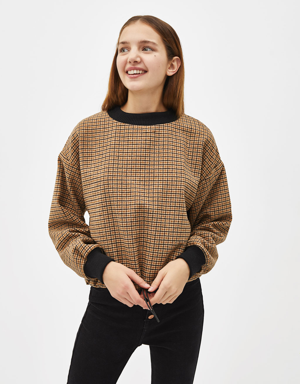 Houndstooth print sweater