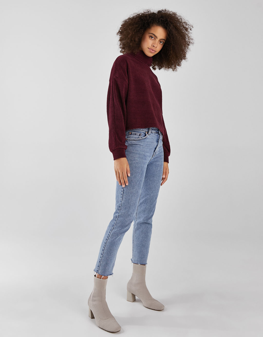 Funnel Collar Chenille Sweater by Bershka