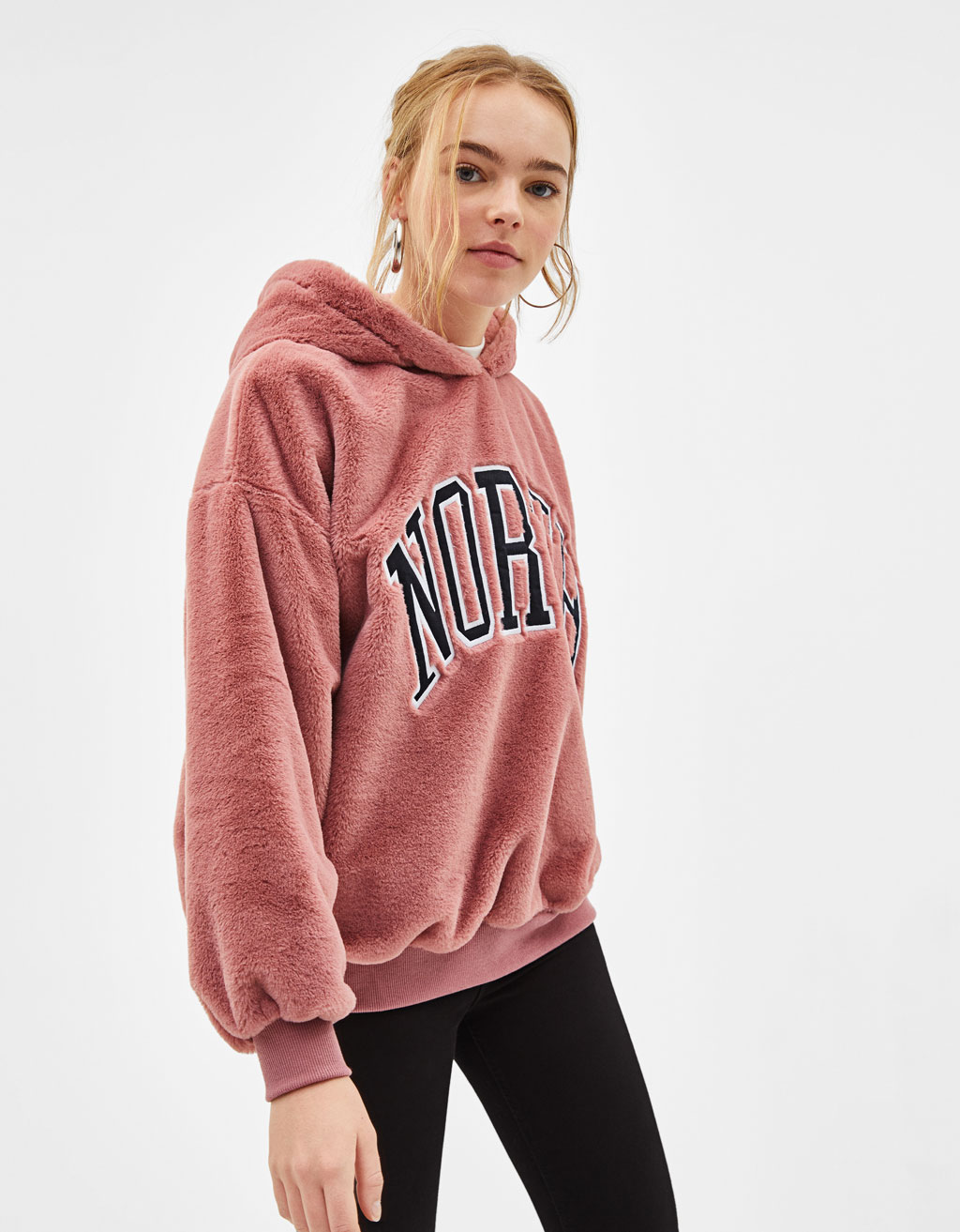 edf3eb81a3db Faux fur sweatshirt with hood - Printed - Bershka Serbia