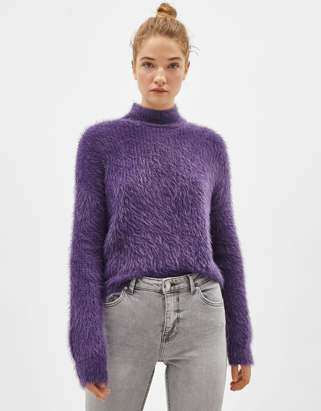 Fuzzy high neck sweater