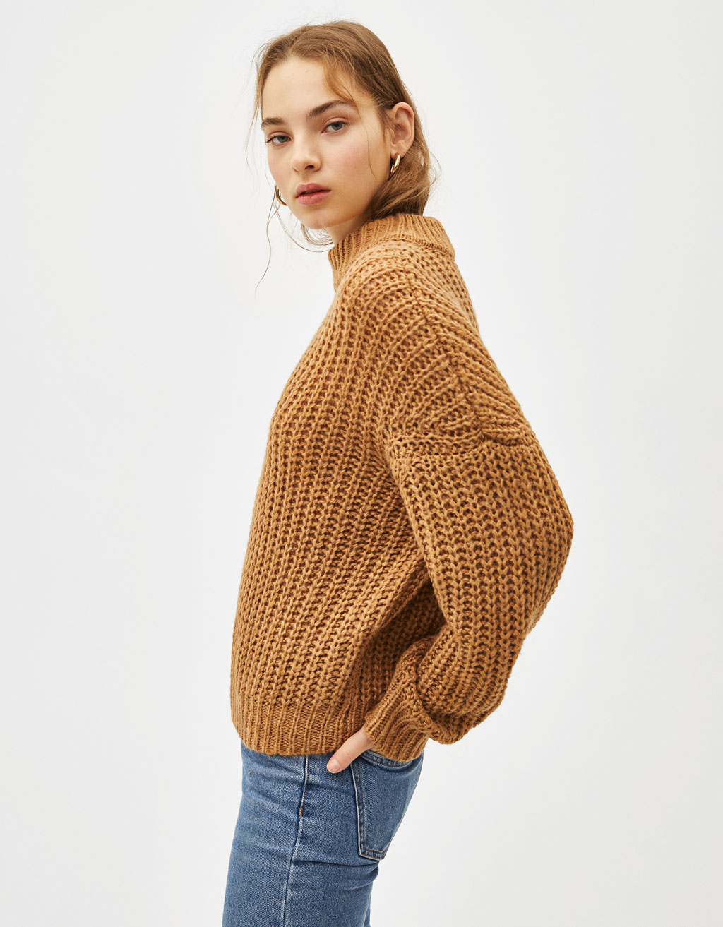 Oversized sweater with mock neck