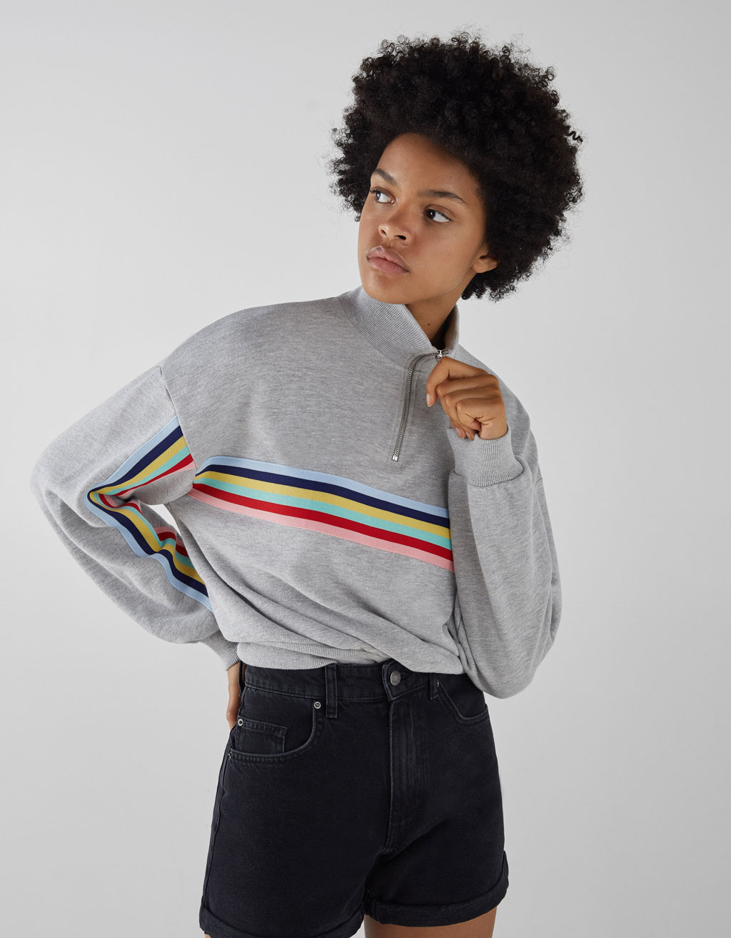 Plush sweatshirt with side stripes