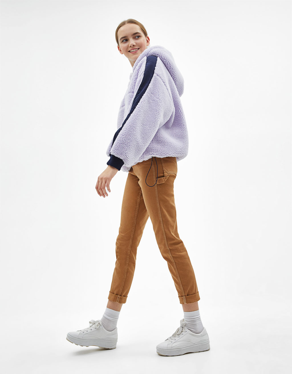 Sweatshirt with contrast faux shearling