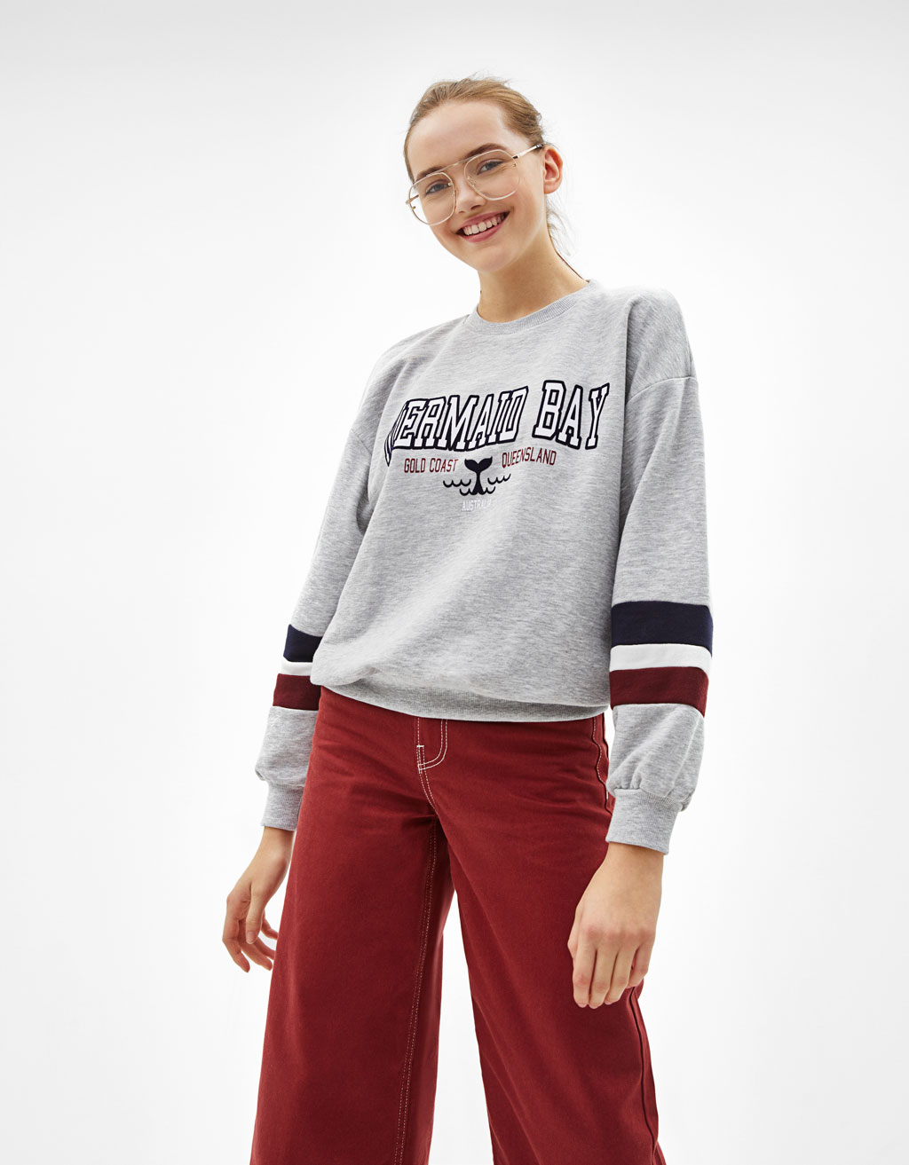 Printed sweatshirt with contrast stripes