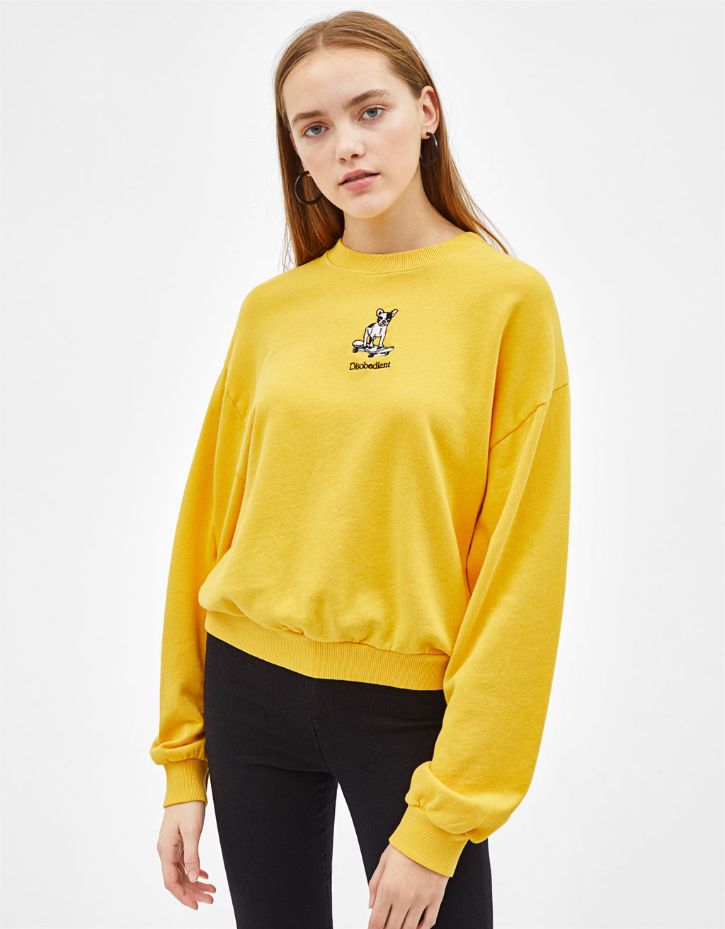Embroidered plush jersey sweatshirt