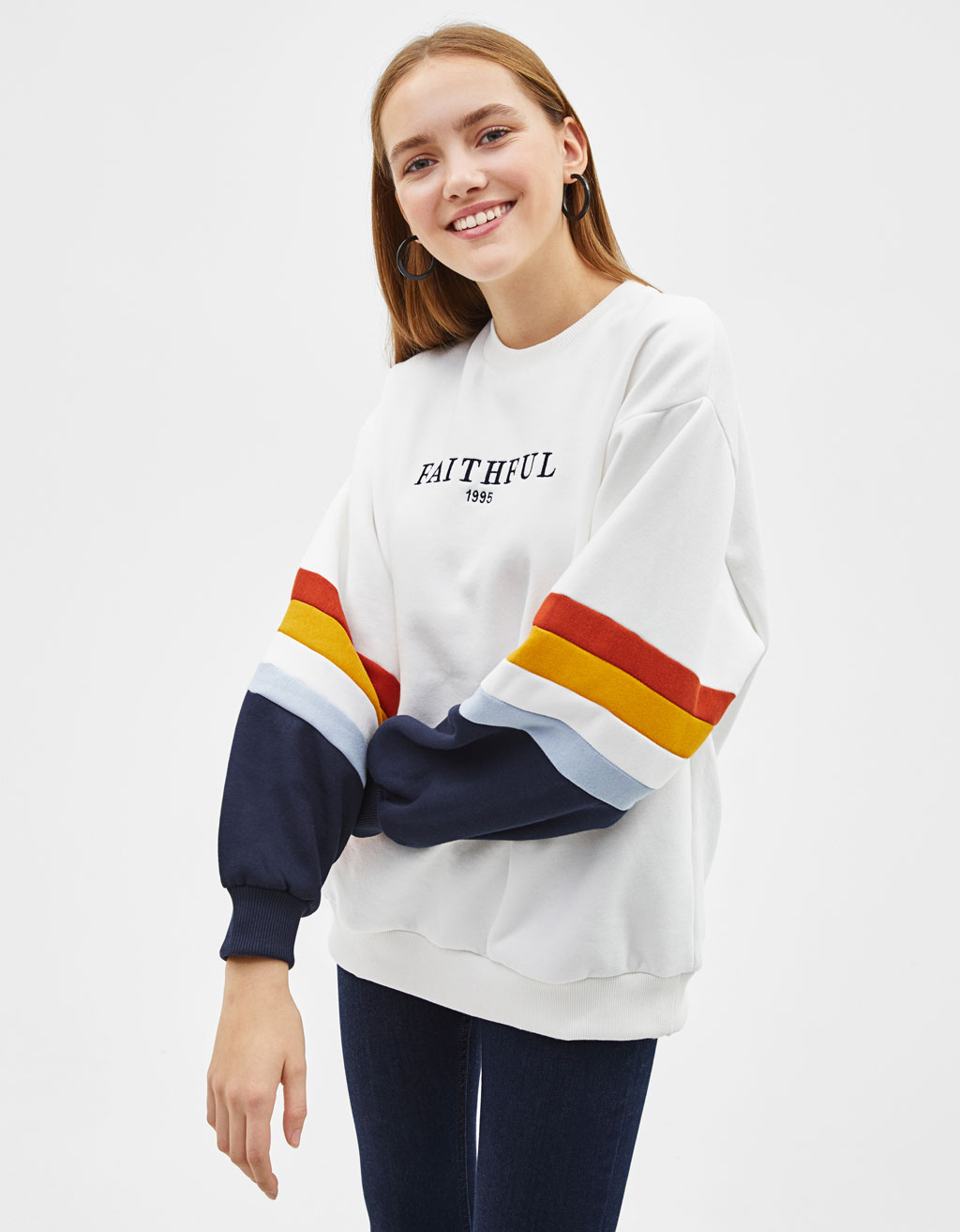 Embroidered sweatshirt with contrast panels