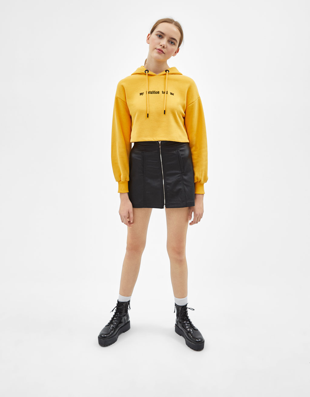 Cropped-Sweatshirt mit Stickerei