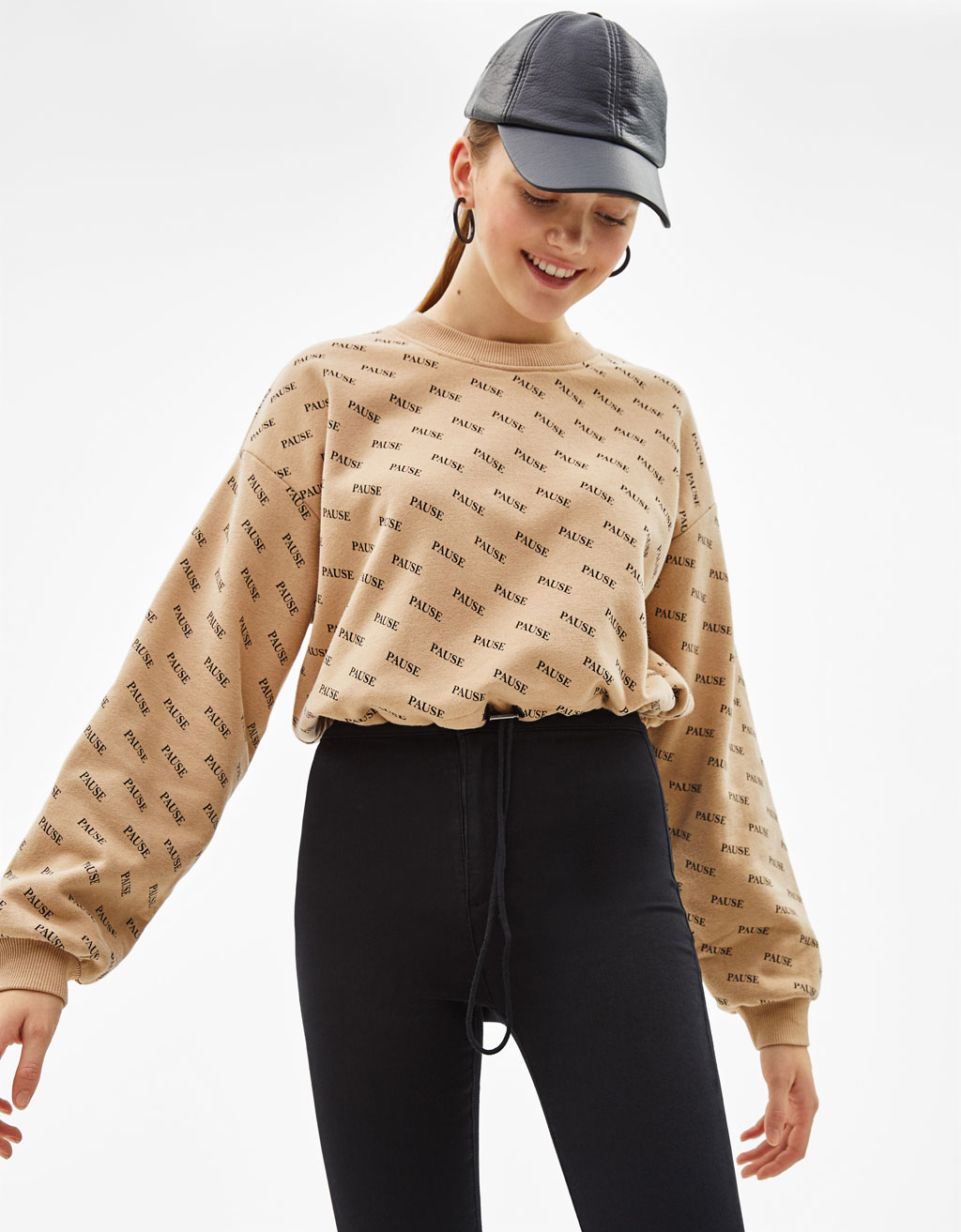Sudadera Cropped estampada