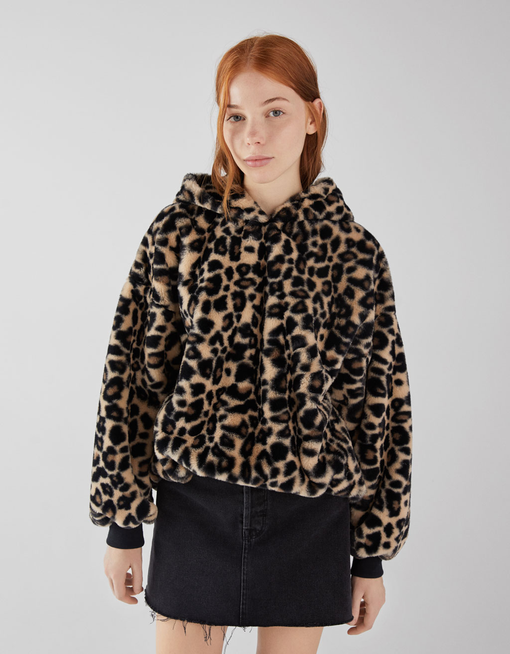 Sweat en fausse fourrure animal print