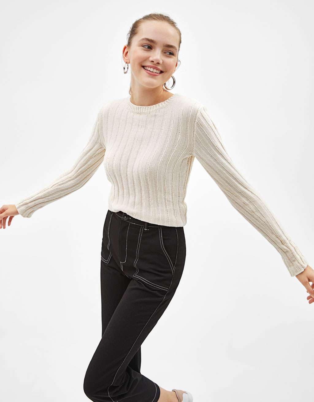 Рипсен пуловер с шенил