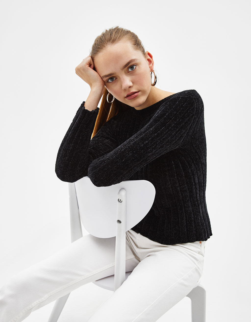 Ribbed sweater with chenille